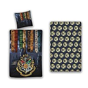 AYMAX S.P.R.L. Harry Potter - Juego de funda nórdica de 140 x 200 cm + funda de almohada + sábana bajera de 90 x 190 cm 5