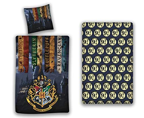 AYMAX S.P.R.L. Harry Potter - Juego de funda nórdica de 140 x 200 cm + funda de almohada + sábana bajera de 90 x 190 cm