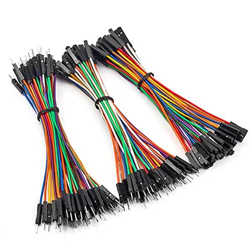 Chanzon Juego de conectores surtidos de línea de Dupont Cable de 120 piezas de 10 cm (macho hembra M-M M-F F-F) sin soldadura para Arduino Raspberry pi Placa de pruebas electrónica Protoboard PCB