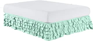 The Great American Store 600 TC 100% Cotton 29 Inch Extra Drop Length Twin Size Multi Ruffle Bed Skirt Solid Sea Glass