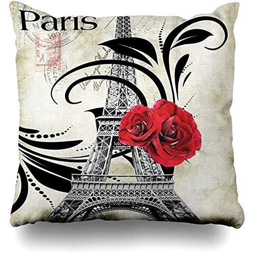 N\A Fundas de cojín Merry Paris Torre Eiffel Decoración navideña Funda de Almohada Sofá Cuadrado Fundas de cojín Lindas Fundas de Almohada