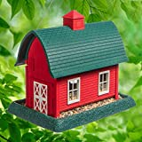 North States Village Collection Large Red Barn Birdfeeder: Easy Fill and Clean. Squirrel Proof Hanging Cable included, or Pole Mount (pole sold separately). Extra Large, 8 pound Seed Capacity (10.25 x 14.5 x 13.25, Red)