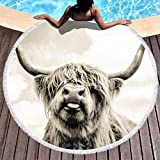 Lawenp Serviette de Plage Ronde, Preuve de Sable tôt avec des Glands drôle Highland Vache Vache bovin Sauvage Yak Animal imprimé Vacances Rond Frange Plage Pique-Nique Nappe