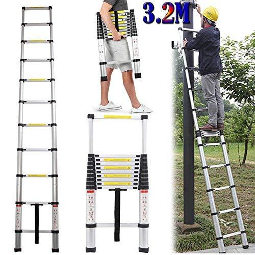 3.2M Alu Teleskopleiter, Ausziehbare Leiter, Klappleiter Stehleiter Rutschfester, Ausziehleiter Mehrzweckleiter, Haushaltsleiter 150 kg Belastbarkeit Mit EN131 Zertifiziert