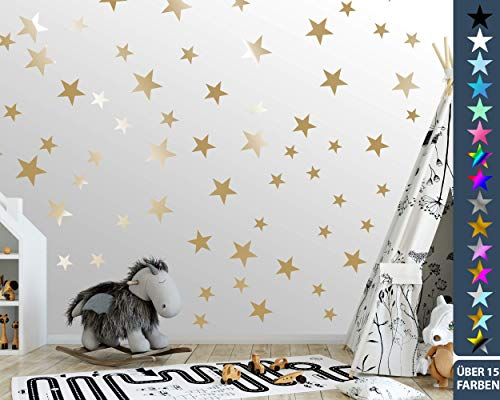 100 Sterne Wandtattoo fürs Kinderzimmer - Wandsticker Set - Pastell Farben, Baby Sternenhimmel zum Kleben Wandaufkleber Sticker Wanddeko - Wandfolie, Kleinkinder, Erstausstattung auf Rauhfaser Gold