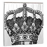 Lichenran Cortina de Ducha,Antiguo Reino de la Corona Real Emperador Gobernante Zar Autoridad de la Monarquía,Impermeable y Opaco con 12 Ganchos