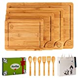 Boelley Bamboo Cutting Board set of 4 with 6 Utensils and 1 canvas bag Wood cutting boards with...