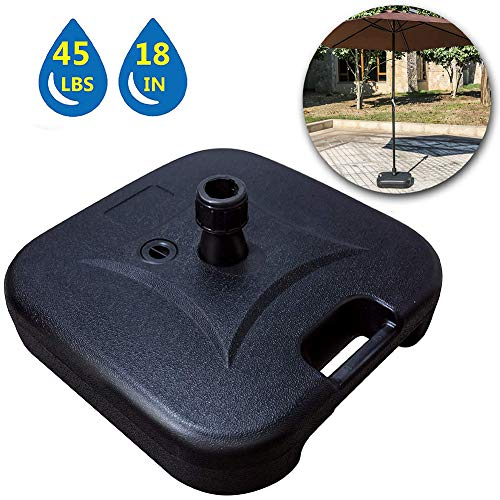 LOKATSE HOME 17.5'' Outdoor Patio Base Stand for Dia 38mm Umbrella Pole(Water Filled to 47lbs), Black