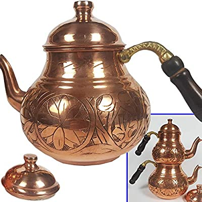 Turkish Copper TeaPot Kettle for Stovetop as Tea Pots - Handmade Stainless Whistling Vintage Housewarming Gift for New Home - for Serving and Drinking Tea Maker Wooden Handle