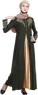 Womens Kaftan Gold Embroidered Fancy Abaya Evening Gown Free Size Maxi Dress,FAPIZI Ladies Muslim Dress
