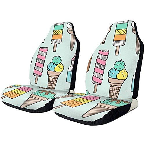 Autositzbezüge Sommer Ice Cream Popsicle Mint Protector Kissen Universal Bucket Sitzbezug Passend für die meisten Autos