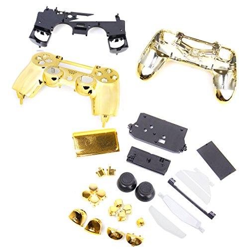 Funda Carcasa Completa de Botones Piezas de Respuesto para Mando Sony PS4 - Dorado