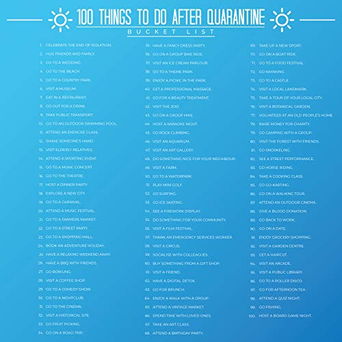 Gift Republic 100 Things To Do After Quarantine Bucket List Scratch Off Poster