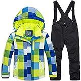YFCH Tuta Sci per Bambini con Cappuccio Invernale 2 Pezzi Ragazze Pattern Stampato Giacche da Sci Pantaloni Sportivi Impermeabili, 7-8 Anni