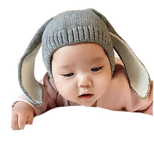 Dragon868 Gorras para bebé, Crochet de Punto de Conejo Oreja Invierno Caliente Gorras para bebé (Gris)