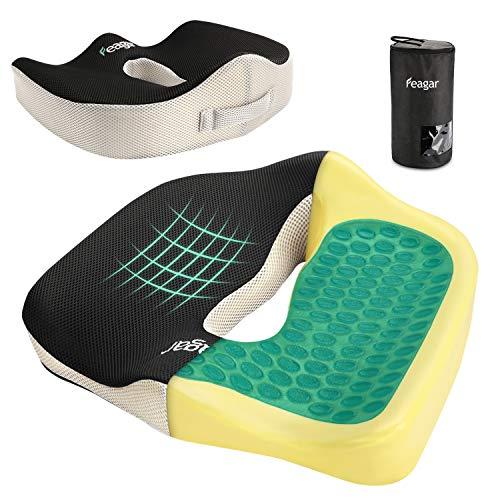 Feagar Gel Sitzkissen, Memory Foam Sitzkissen im Büro, Auto, waschbares Sitzkissen mit Gel für Mitarbeiter, Fahrer, Behinderte, Schwarz