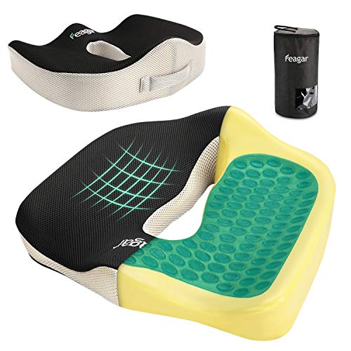 Feagar Gel Seat Cushion for Back Pain - Orthopedic Non-Slip Memory Foam Coccyx Cushion for Tailbone Relief Sciatica Hemorrhoid, Office Chair Cushions Wheelchair, Kitchen Chairs, Recliner, Car Seats