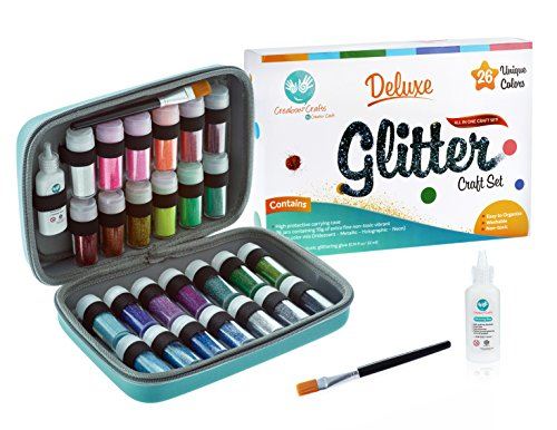 Extra Fine Glitter Deluxe Set - 26 Unique Colors (Holographic, Iridescent, Neon, Pastel) - Include Shaker Jars, Glitters Glue, Brush and Case - Perfect for Artist to Sparkle DIY, Slime, Nails, Body