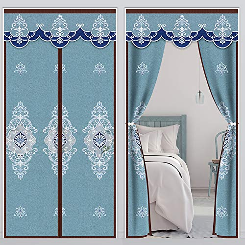 Cozomiz Heavy Duty Magnetic Window Screen Door Black Out Curtain with Tiebacks Anti Fly Mosquito Insect Windprood Thermal Curtain 31' x 78' Inch Hollow Mesh Blue