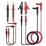 Justech 8 Piezas Kit de Sonda de Prueba del Multímetro Incluye Extensiones de Plomo Sondas de Prueba Ganchos de Cocodrilo de Mini Ganchos para la Fábrica de Laboratorio Escuela y Otros Campos Sociales