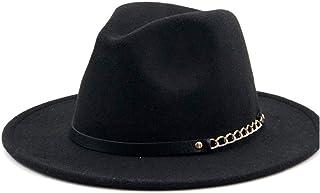 Fashion Sun Hat for Men Women Fashion Wool Fedora Hat Chain Leather Belt Outdoor Wool Felt Hat Panama Hat Jazz Hat Suitable for hot Weather Season (Color : Black, Size : 56-58CM)