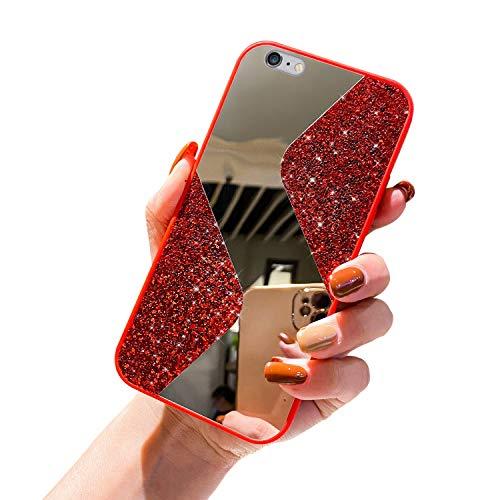 URFEDA Kompatibel mit iPhone 6/6S Handyhülle Überzug Spiegel, Silikonhülle mit 360 Grad Ring Ständer Glitzer Bling Strass Diamant Hülle Schutzhülle Durchsichtig Clear Tasche Case,Rot