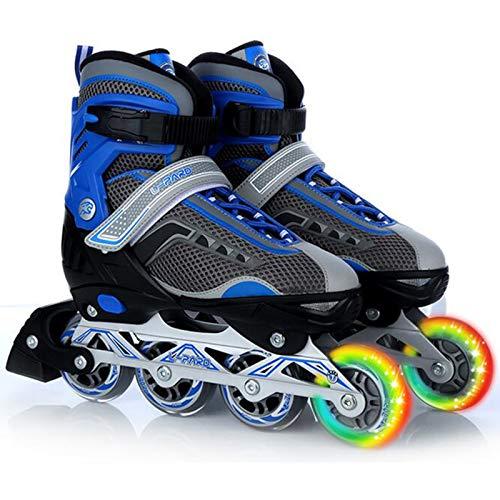 Yhjmdp Inline Skates, Mit PU Verschleißfeste Roller Skates, Beleuchteten Rädern, Für Jungen Mädchen Anfänger Damen Herren Blue-XL(41-44)