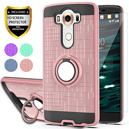 LG V10 Case with HD Phone Screen Protector,YmhxcY 360 Degree Rotating Ring & Bracket Dual Layer Resistant Back Cover for LG V10-ZH Rose Gold