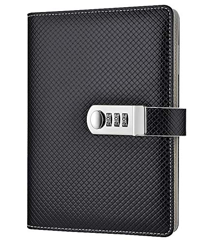 ARRLSDB PU Leather Diary with Lock, A5 Creative Password Notebook Locking Student Handbook Notepad and Journal Diary (Black)
