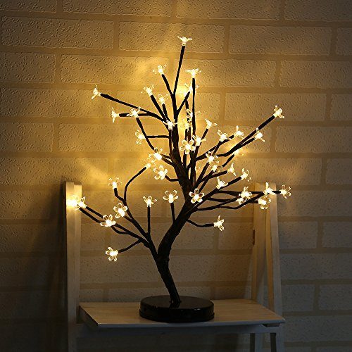 Bonsai Tree Light Crystal Cherry Plum Blossom 48 Led Lights Battery Powered Desk Table Lamp with Metal Base Adjustable Black Branches for Home Party Wedding Decorations Best Gift