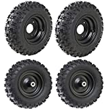 JCMOTO 4 Sets of 4.10-6 Go Kart ATV Tubeless Tires with Rims | Front and Rear Tire for Scooter Quad Bikes 4 Wheelers
