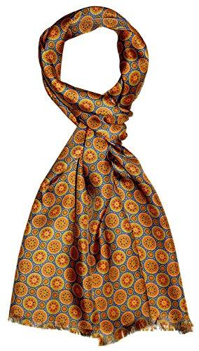Lorenzo Cana Eleganter Herren Schal 100% Seide in harmonischen Farben bedruckt doppellagig Seidenschal Seidentuch Tuch Trend Style 30 cm x 160 cm - 8920311