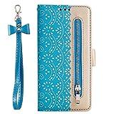 Beddouuk Huawei P Smart Hülle,Premium PU Leder Flip [Kartenfächer] [Standfunktion] [Reißverschluss] Wallet Schutzhülle Handy für Huawei P Smart Blau