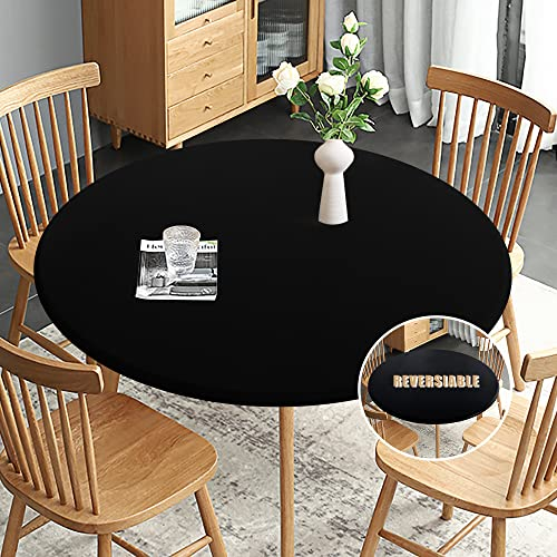 Obstal Fitted Round Table Cloth, Reversible Waterproof Stain Resistant Elastic Stretch Tablecloth, Wipe Clean Table Cover for Outdoor/Indoor Use, Fits...