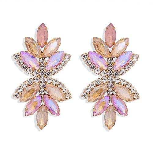 OUHUI Pendientes de Cristal de Colores Intermitentes Pendientes de Diamantes Imitados Estilo Retro Pendientes de Diamantes Imitados Pendientes de Hojas Joyas Hechas a Mano para Muje