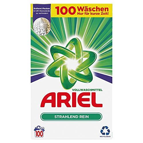 Ariel Waschmittel Pulver, Waschpulver, Vollwaschmittel, 100 Waschladungen, Strahlend Rein (6.5 kg)