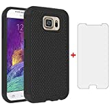 Phone Case for Samsung Galaxy S6 with Tempered Glass Screen Protector Cover and Slim Rugged TPU Hybrid Protective Cell Accessories Glaxay S 6 Gaxaly 6s Galaxies GS6 SM-G920V G920A Cases Men Black