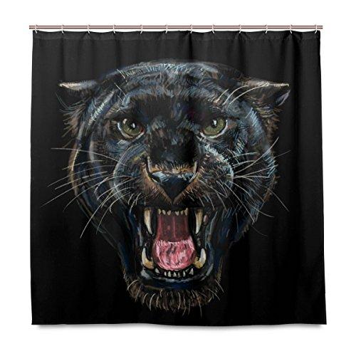 Yibaihe Dusche Gardinen, Brüllender Schwarz Panther Polyester Stoff Gedruckt Schimmelresistent Wasserdicht für Badezimmer Badewanne, 12Haken 183x 183cm