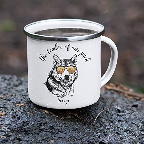 Personalisierbare Wolf-Tasse für Herren, Keramik-Tasse mit Wolfsmotiv, Geschenk, Abenteuer-Tasse, Wildwolf, Vatertagsgeschenk, Geschenk für Vater, 284 ml