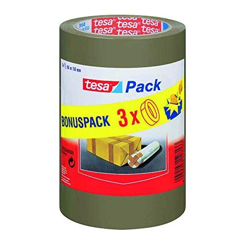 Pack de 3 rollos cinta embalaje tesapack, color marrón (66m x 50mm)