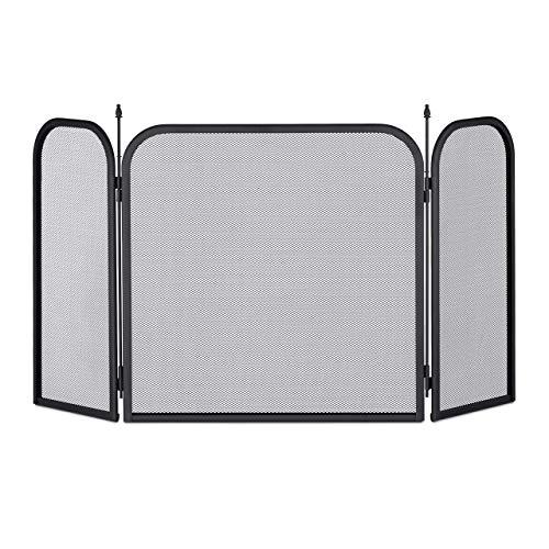Relaxdays Funkenschutzgitter Stahl, dreiteiliges Gitter gegen Funkenflug, Kamin Funkenschutz, HxB 52,5 x 97 cm, schwarz
