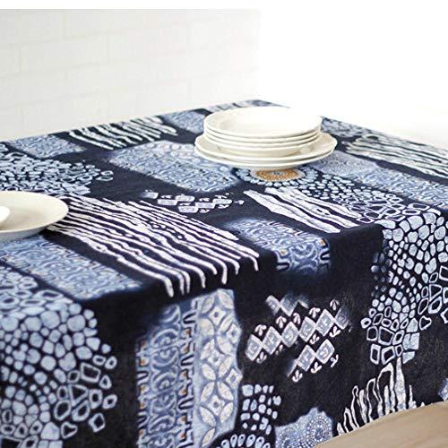 HXRA tafelkleden Outdoor tafelkleden Bar tafelkleed imitatie batik nationale stijl tafelkleed kunst katoen linnen theetafel doek