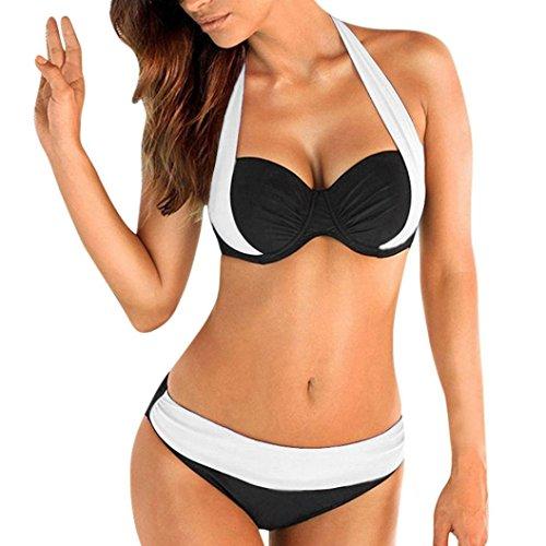 Yuson Girl Mujer Ropa de Baño Tops de Bikini con Relleno Traje de Baño Push up Bañador de Cuello Hálter Mujer Push-up Bikini (Blanco, XL / ES42)