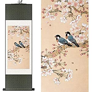 Features Original Chinese Style Silk Chinese Watercolor Flower and Bird Begonia Flower Ink Art Canvas Print Table Photo Damask Scroll Framed Painting 100X30CM, Green Packet, Color: Green Package