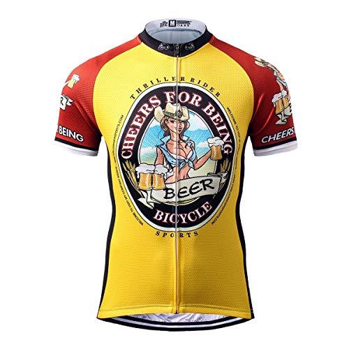 Thriller Rider Sports Uomo Cheers for Being Sport e Tempo Libero Abbigliamento Ciclismo Magliette Manica Corta 2X-Large