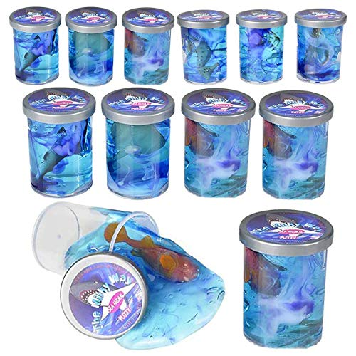Kicko Sea Animal Slime Toy - 12 Pieces Bottles of Colorful Sludgy Gooey Fidget Kit for Sensory and Tactile Stimulation Stress Relief Prize Party Favor Educational Game School Reward