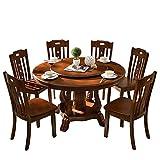 Mesa de Comedor, Mesa de Comedor Redonda de Madera Maciza y combinación de Silla, Juego de 7 Piezas, con Plato Giratorio, Muebles de Cocina, Varios tamaños,150cm