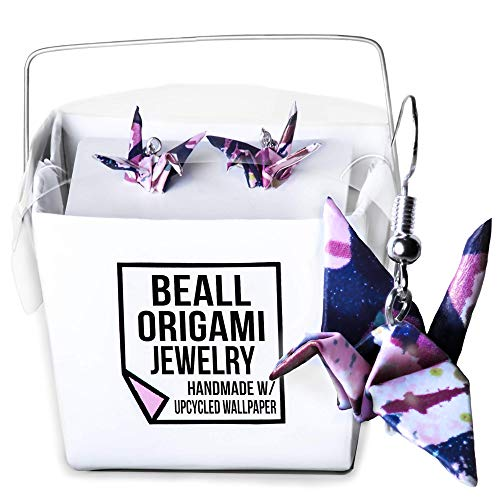 Street Art Origami Crane Earrings Handmade with Recycled Wallpaper, Cool Gifts for Teen Girls Women Her
