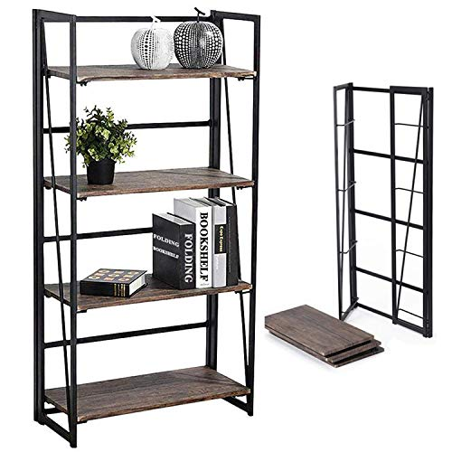 Coavas No-Assembly Folding-Bookshelf Storage Shelves 4 Tiers Bookcase Home Office Cabinet...