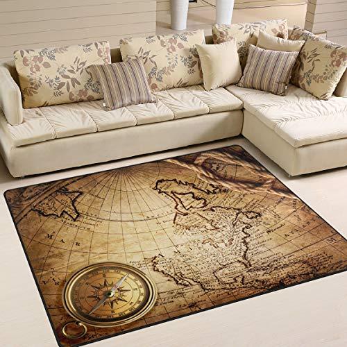 Use7 - Alfombra para sala de estar o dormitorio con diseño de mapa del mundo antiguo, tela, Varios Colores, 160cm x 122cm(5.3 x 4 feet)